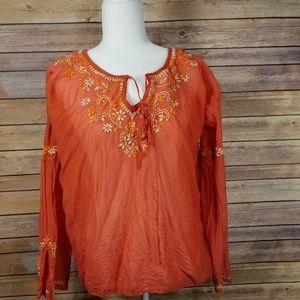 Lucky Brand Orange Blouse size L